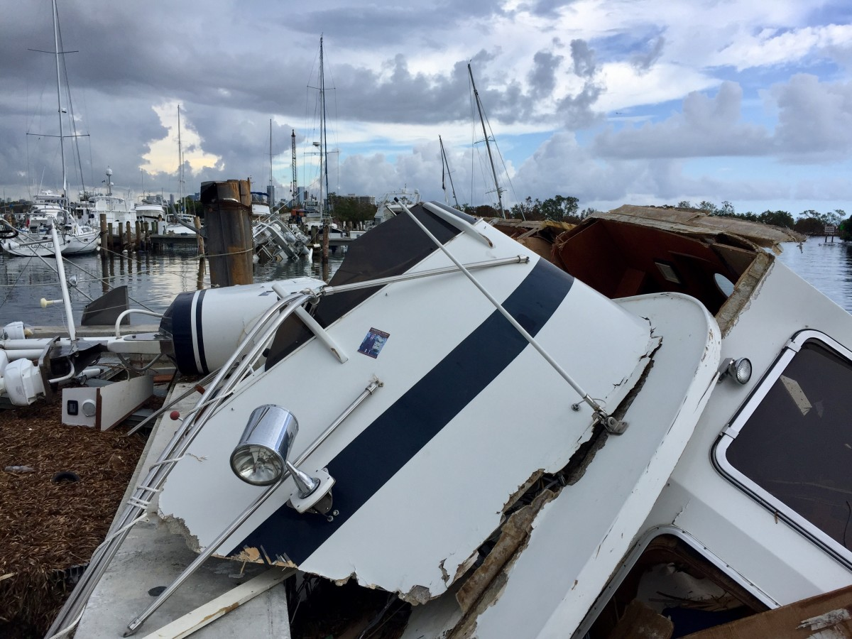 boat damage at dinner key fl