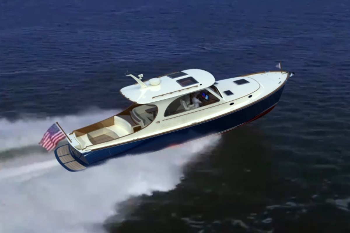 The Picnic Boat 40 has a top speed of 34 knots with twin Hamilton 322 high-efficiency jet drives, powered by twin Cummins 480-hp diesels.