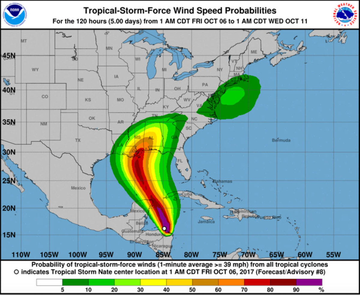 Wind probabilities from Tropical Storm Nate, which is expected to strengthen to a hurricane before hitting the Gulf Coast.