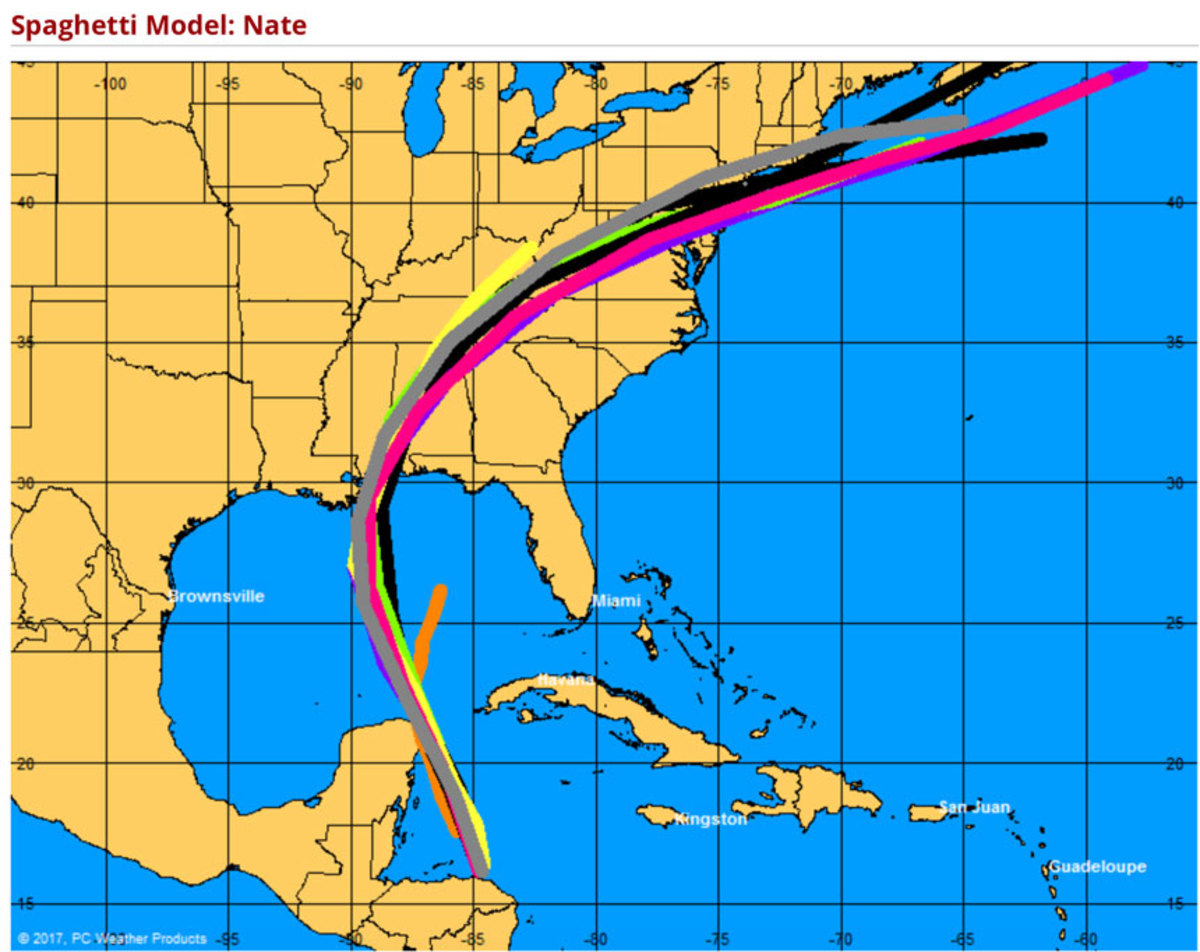 BoatUS issued a spaghetti model of the forecast paths of Tropical Storm Nate.