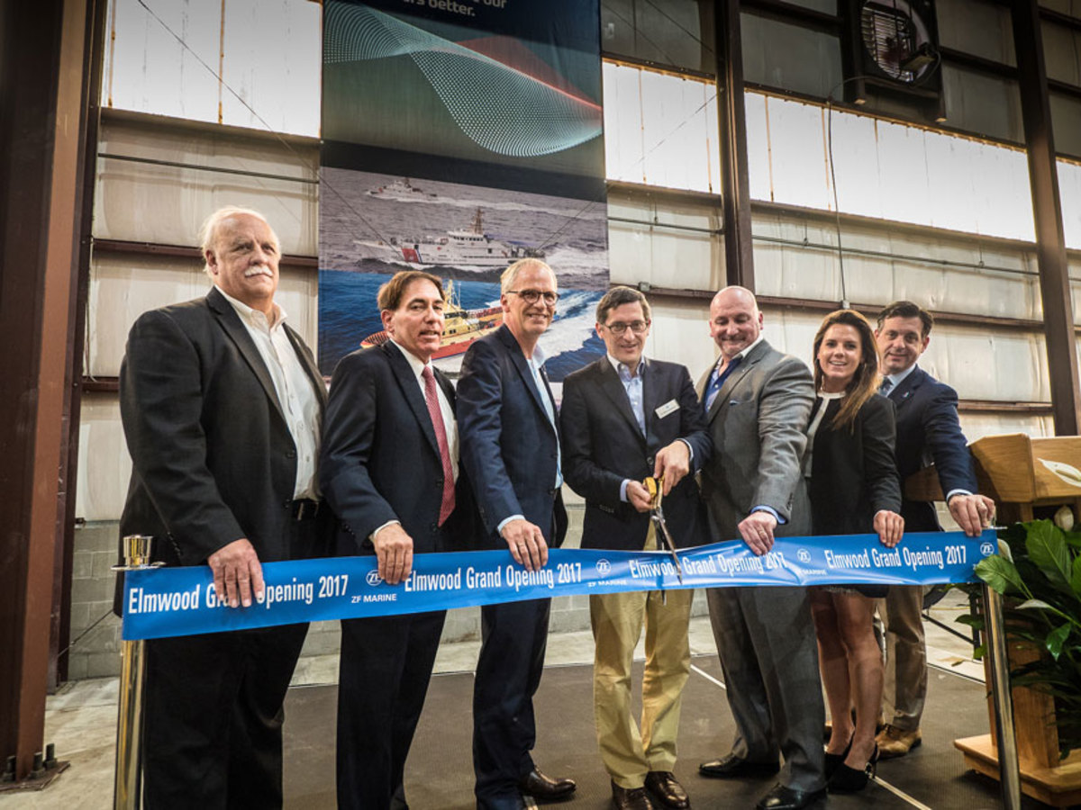 Klaus Geissdoerfer, (fourth from left), head of the ZF Group Industrial Technology division, officially opens the company's new North American Commercial Craft Center of Competence in Elmwood, La. Also shown are Paul Johnston (left), Jefferson Parish councilman; Fred Preis, Jefferson Chamber of Commerce; Andre Koerner, ZF Marine; Michael Babin, ZF Marine; Jessica Foreman, New Orleans Inc. Regional Economic Development Alliance; and Jerry Bologna, Jefferson Parish Economic Development Commission.