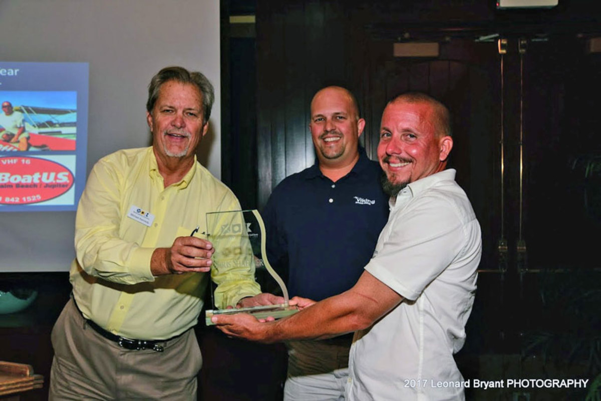 Capt. Chris Shaffner, (right), owner of TowBoatUS Palm Beach, received the Marine Industries Association of Palm Beach County's Member of the Year Award. Also shown are MIAPBC president Michael Kennedy (left) and vice president Mike Samuels.