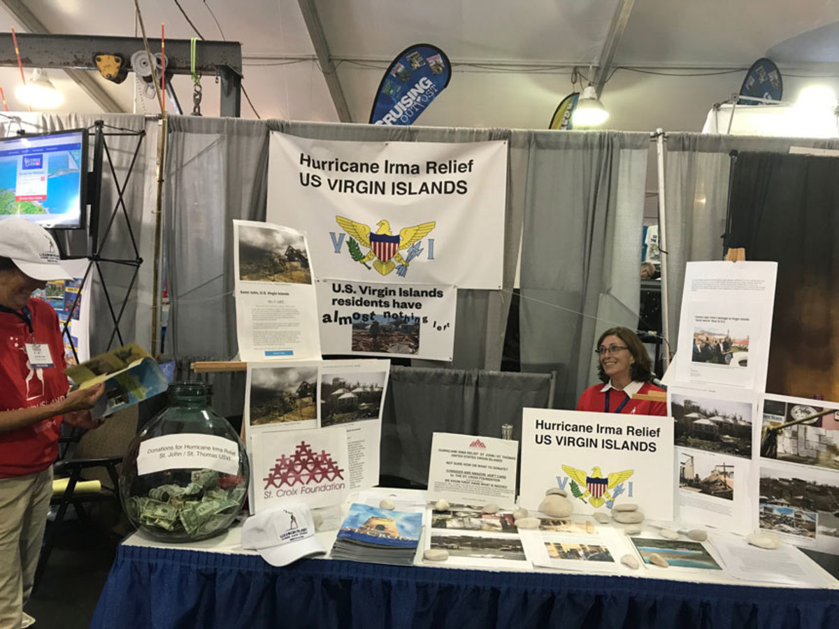 Organizations such as the St. Croix Foundation raised funds for hurricane relief at the Newport International Boat Show.