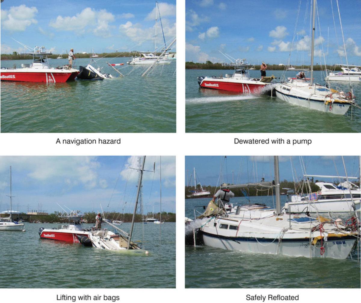 In Marathon's Boot Key Harbor, salvage crews from TowBoatUS Marathon raise a sunken sailboat and navigation hazard off the bottom.