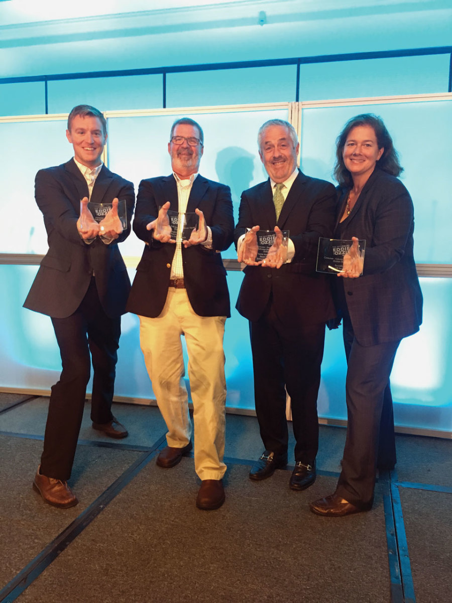 Winning editors (left to right): Dan Harding, Power & Motoryacht; Bill Sisson, Anglers Journal/Soundings Trade Only; Kenny Wooton, Yachts International; and Mary South, Soundings.