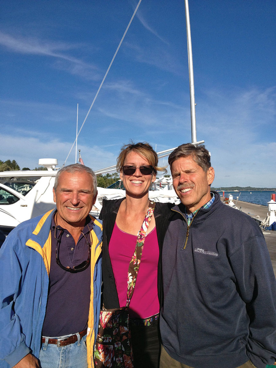 Polan is shown with Fred Walstrom (left) and Ward Walstrom, brothers who own Walstrom Marine in Harbor Springs, Mich.