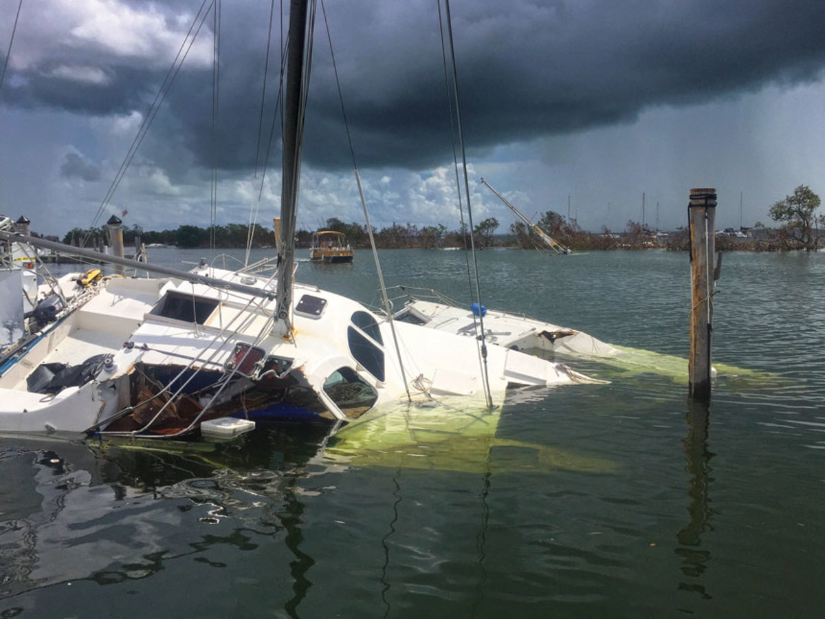 Boats were scattered and sunk at Dinner Key Marina in the Coconut Grove neighborhood of Miami after Irma hit the Florida Keys as a Category 4 storm.