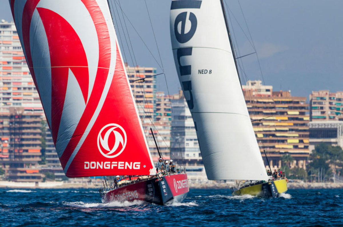 Dongfeng and Team Brunel battle during last weekend's in-port race in Alicante, Spain.
