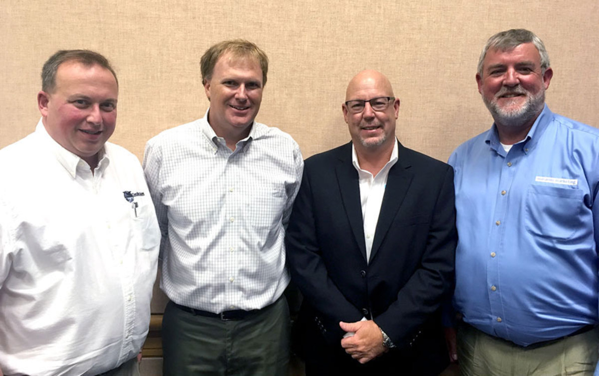 Neal Trombley (second from right) was elected president of the National Marine Representatives Association. Others (from left) are secretary Scott Kolodny, vice president Clayton Smith and current past president Keith LaMarr.