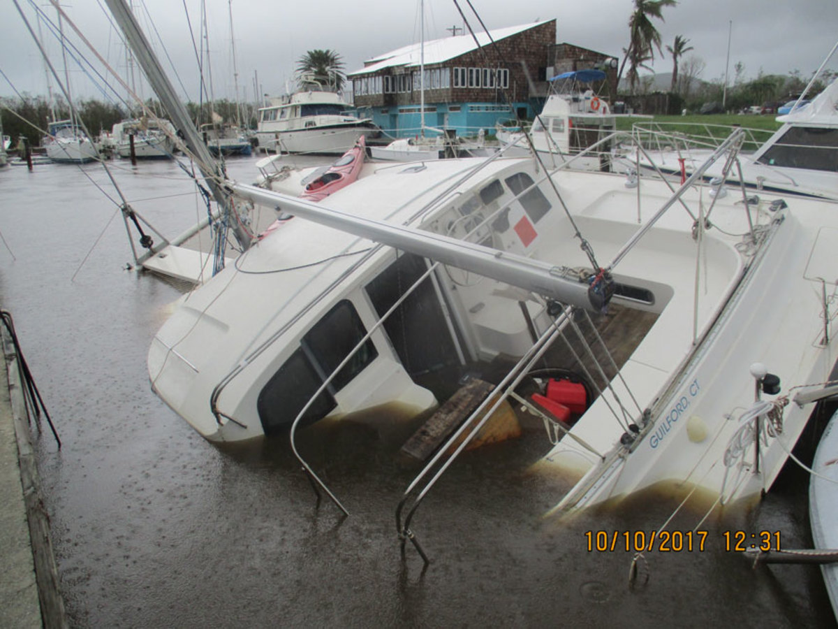 St. Croix also had several sunk and damaged boats because of Hurricane Maria. This photo was taken at Green Cay Marina.