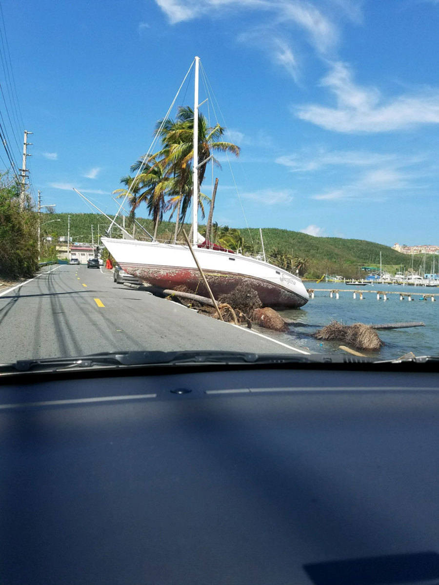 BoatUS CAT team member D.J. Smith took a picture of this sailboat on the road in Fajardo, Puerto Rico. It was not insured by BoatUS.