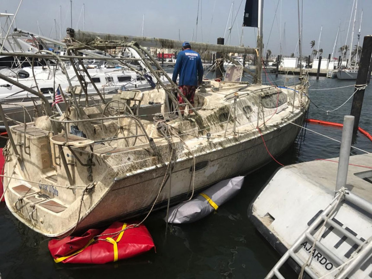 This 45-foot Hunter, insured by BoatUS, was totally submerged at Palmas Del Mar, Puerto Rico.