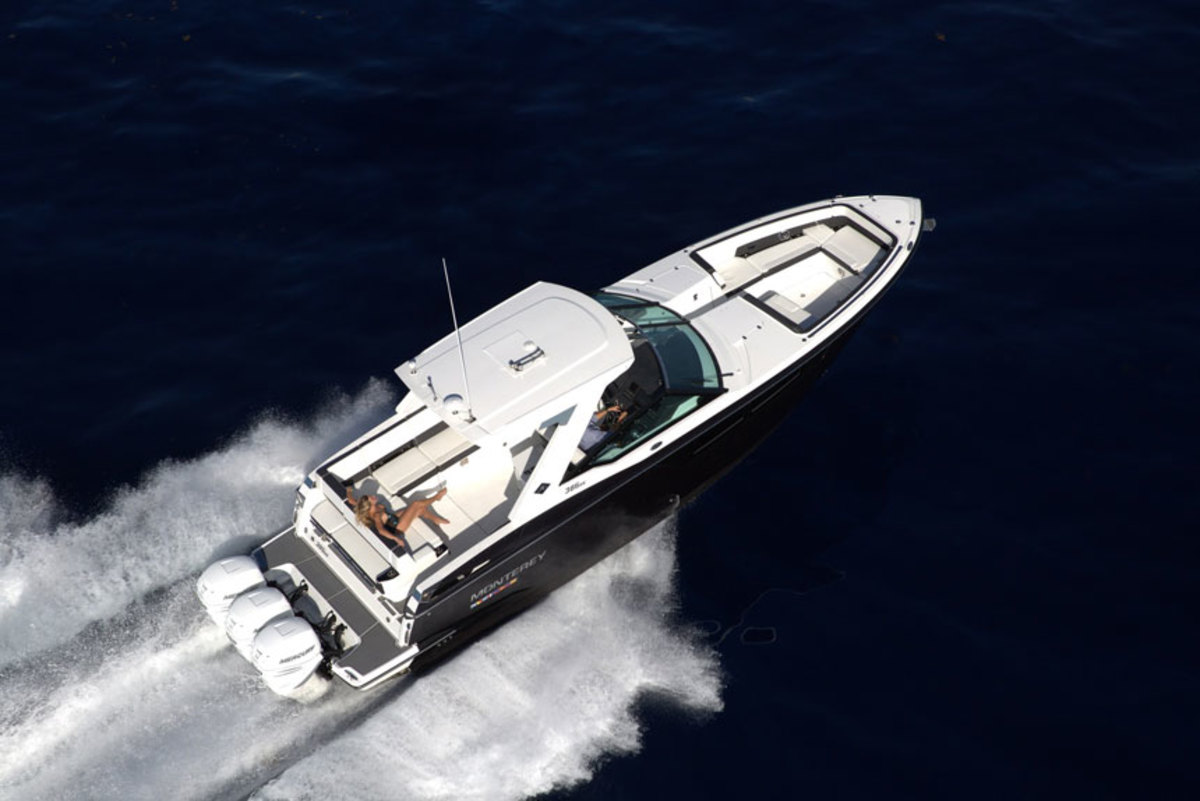 Monterey said the 385SE is powered by three outboards that provide a maximum of 1,050 hp.