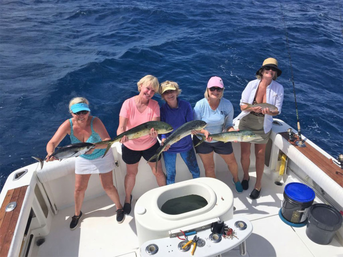 Cindy Campbell (left), Theresa Mathis, Pat Kucera, Janet Steiner and Rebecca Hill are shown with fish they caught on Caribsea at a Ladies, Let's Go Fishing event in Florida. All are from St. Augustine, Fla., except for Kucera, who is from Clearwater, Fla.