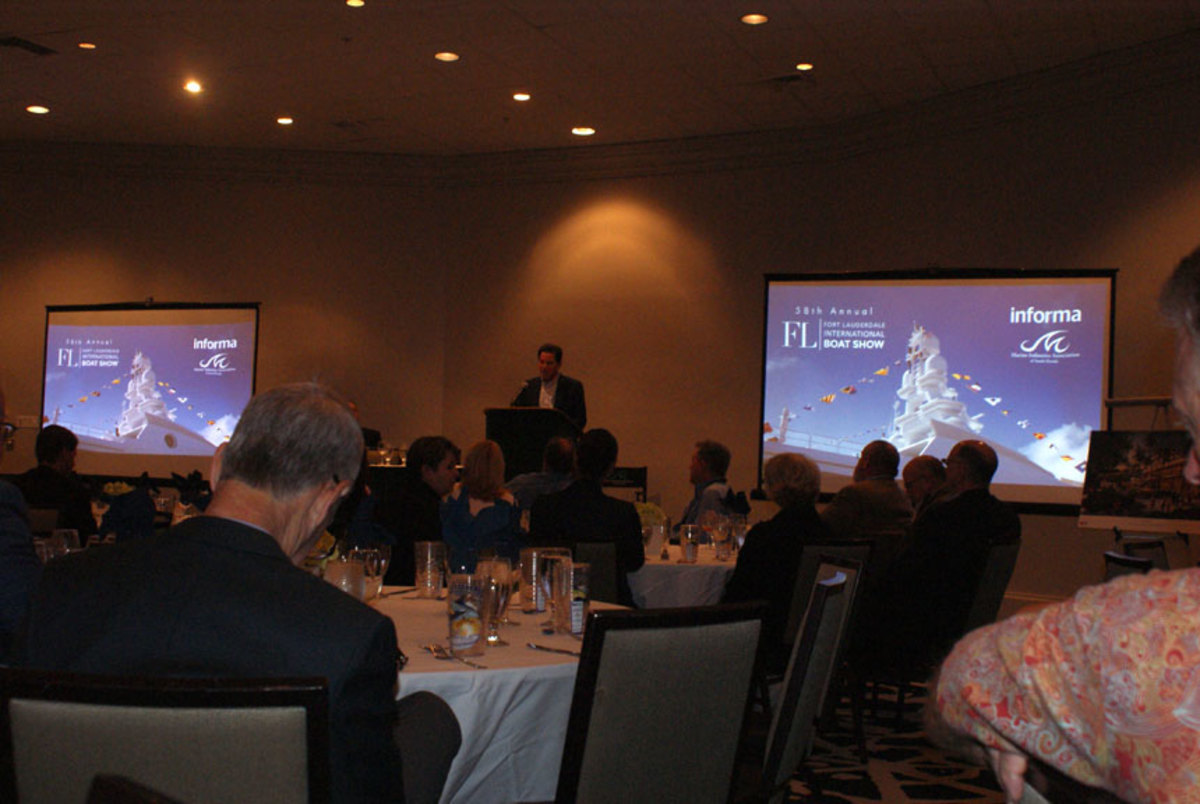 Charlie McCurdy, president and CEO of Informa's Global Exhibitions division, speaks today at the opening breakfast of the Fort Lauderdale International Boat Show.