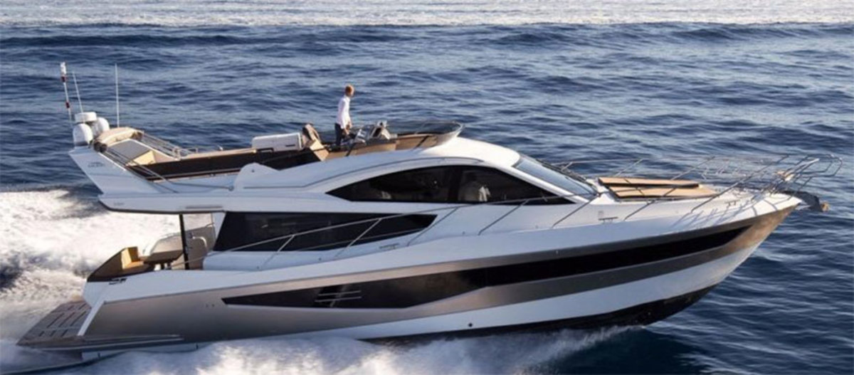 """Like much of the industry, MarineMax has experienced """"choppiness"""" in the 40- to 60-foot boat market, but executives said the Polish-built Galeon has been performing well. Shown here is the 2018 Galeon 550 Fly."""