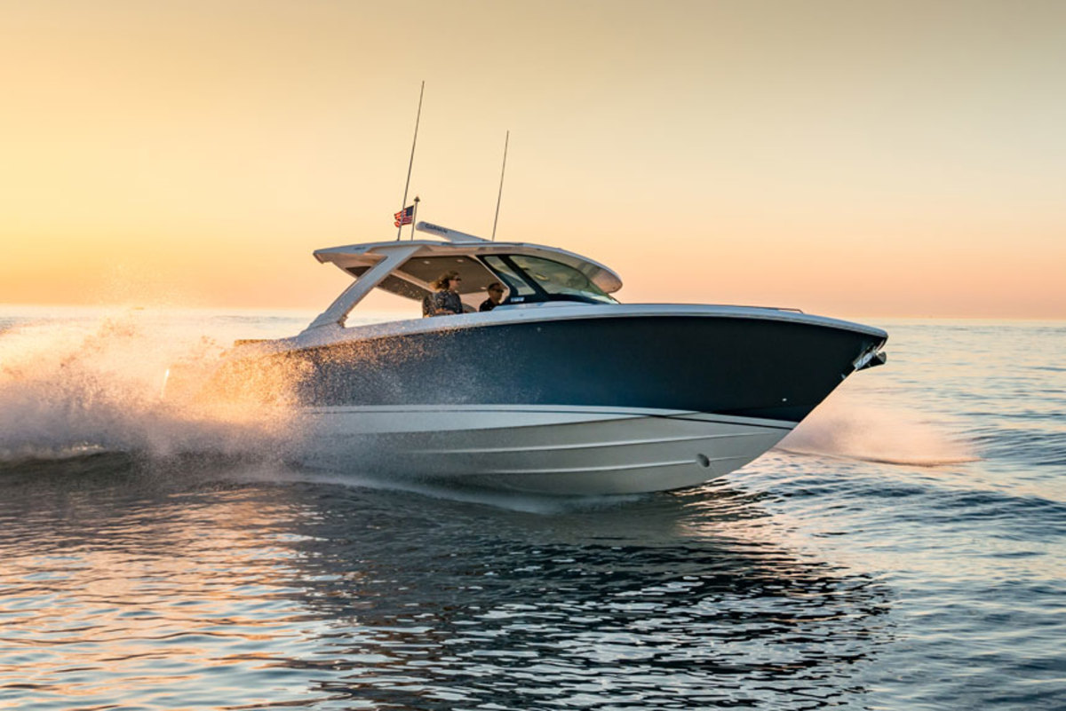 Triple Yamaha 350-hp 4-stroke outboards push the new Tiara Sport 38 LS to a top speed of 55.6 mph.