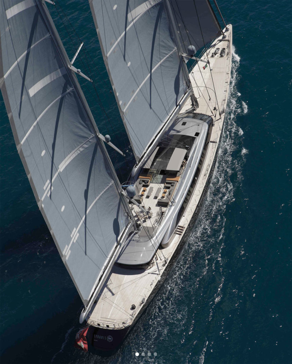 Perini Navi's 230-foot Sybaris won ISS awards for the best sailing yacht over 40 meters and the best interior design.