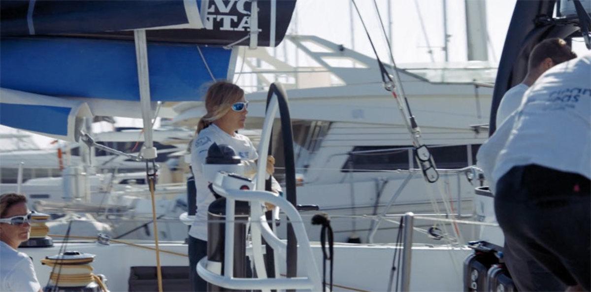 Dee Caffari is shown aboard Turn the Tide on Plastic.