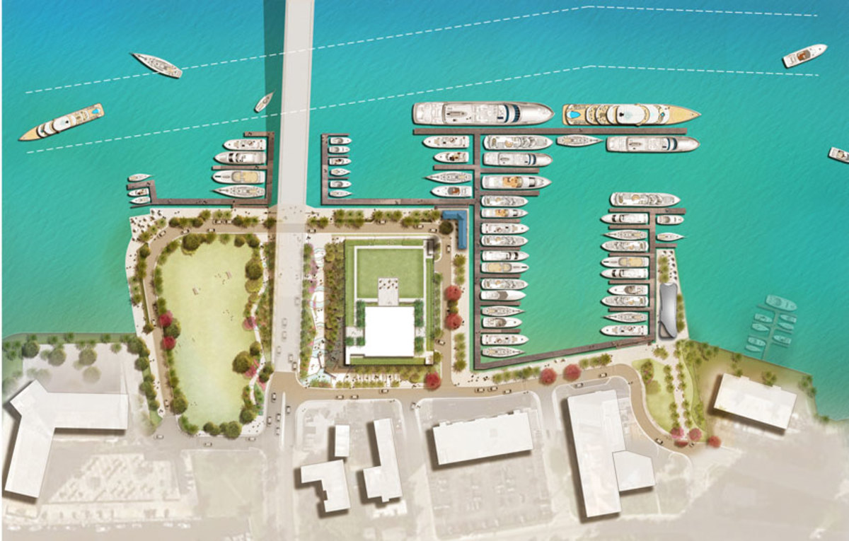 The number of slips for larger vessels will increase at a redeveloped Las Olas Marina. A rendering of the planned redevelopment is shown.