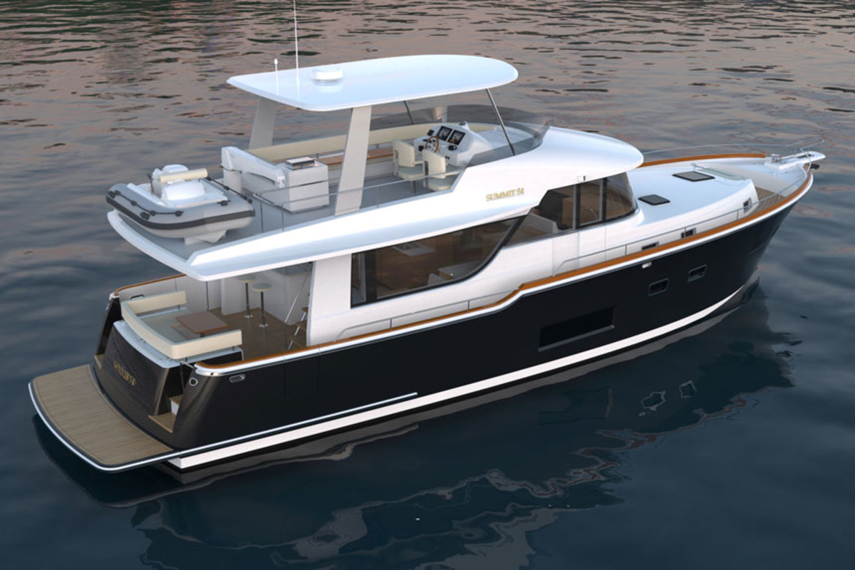 The first Summit MotorYachts model is a 54-foot flybridge.