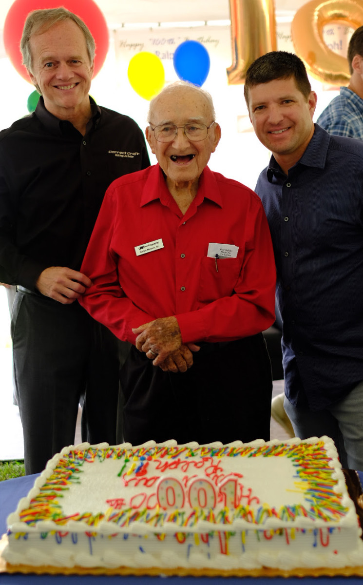 Correct Craft celebrated former president Ralph Meloon's 100th birthday on Friday. He is shown with Correct Craft CEO Bill Yeargin (left) and Nautique president Greg Meloon.