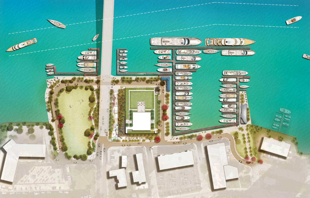 Fort Lauderdale selected Suntex to redevelop the Las Olas Marina, where the number of slips for larger vessels will increase. A rendering of the planned redevelopment is shown.