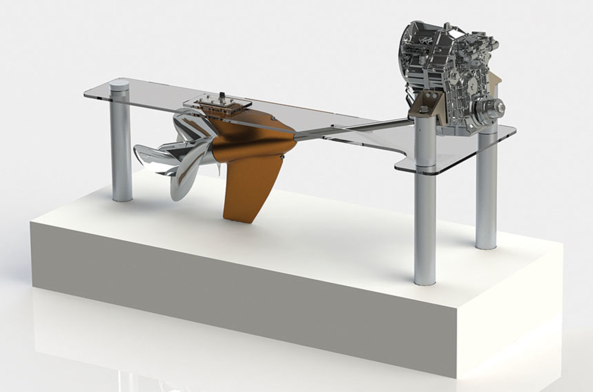 ZF Marine unveiled the first inboard system with contra-rotating propellers.