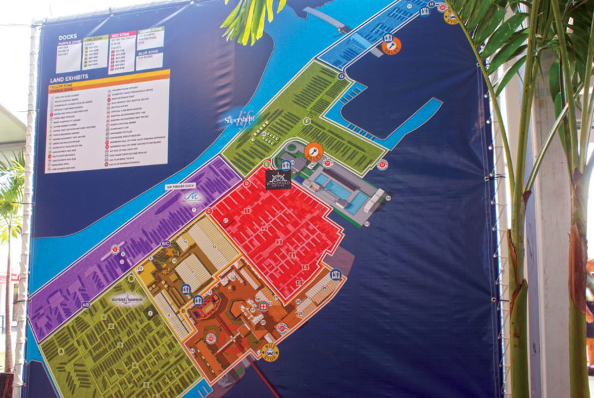 Color coding on the docks at the Bahia Mar Yachting Center made it easier for visitors to navigate the show.