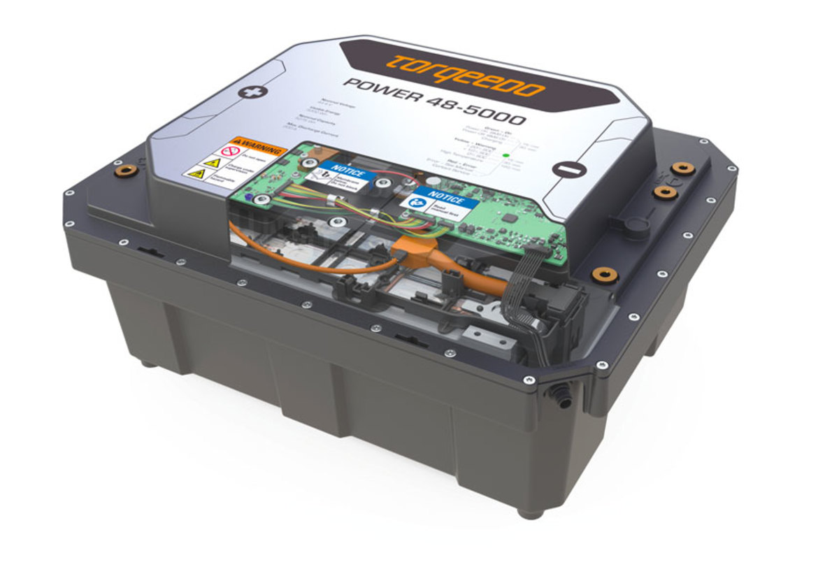 The Torqeedo Power 48-5000 battery has an eight-year capacity warranty