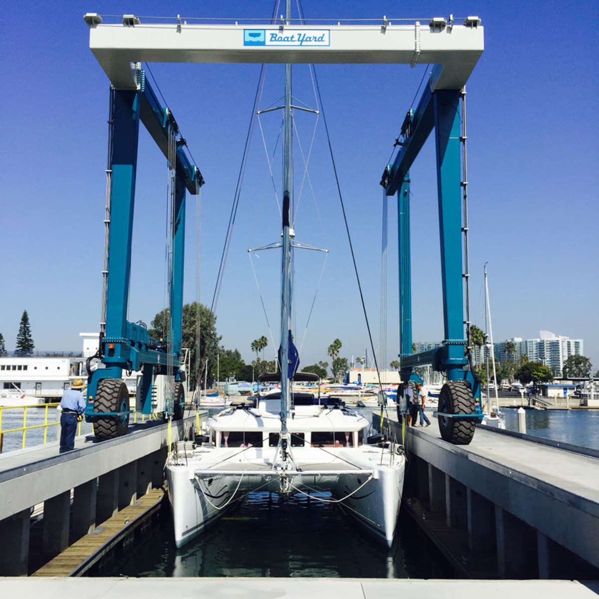 The new hoist is the fifth that Marine Travelift has sold to the Boat Yard of Marina Del Rey, Calif.