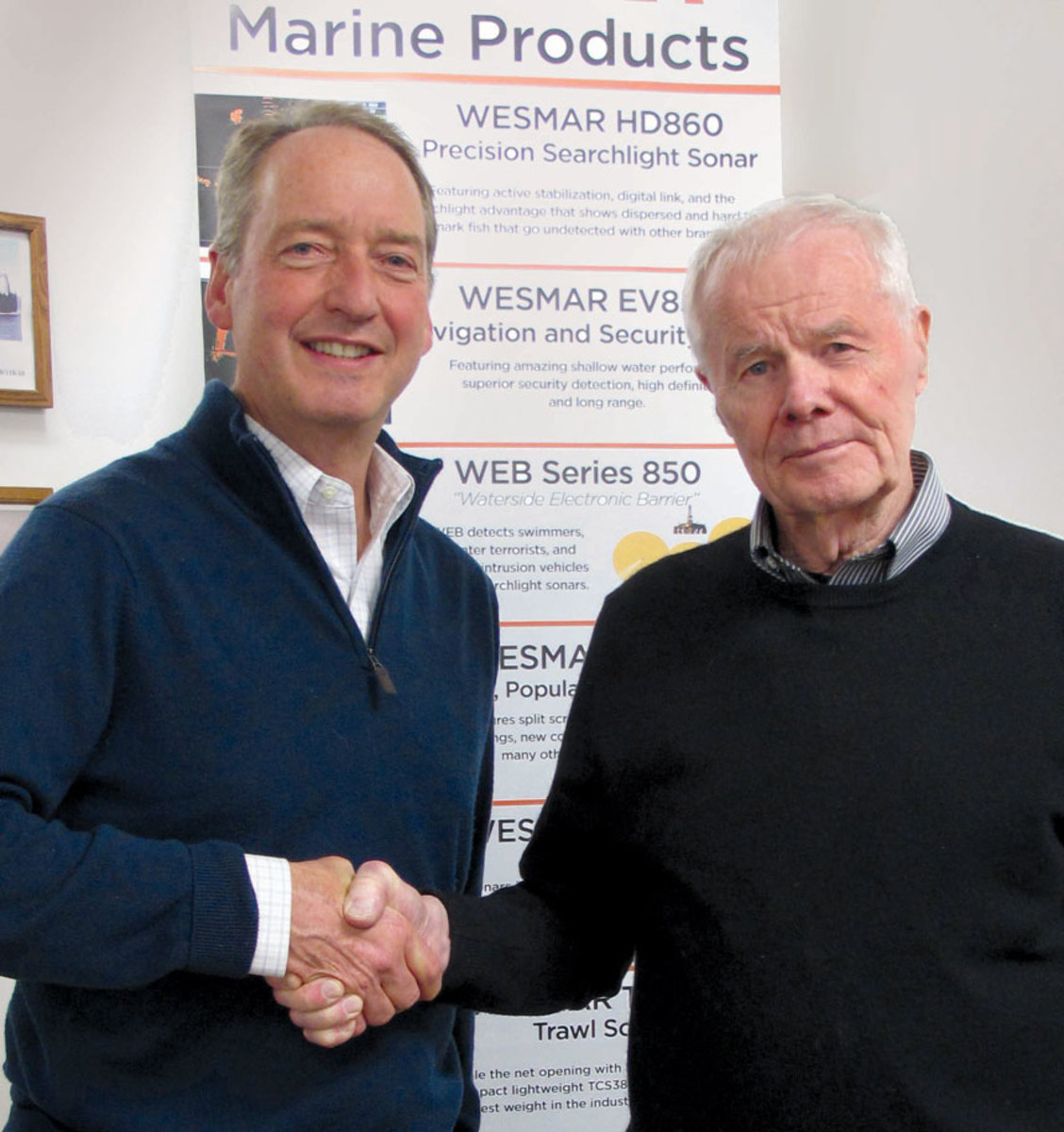 New Wesmar owner Roger Fellows (left) is shown with company founder Bruce Blakey.