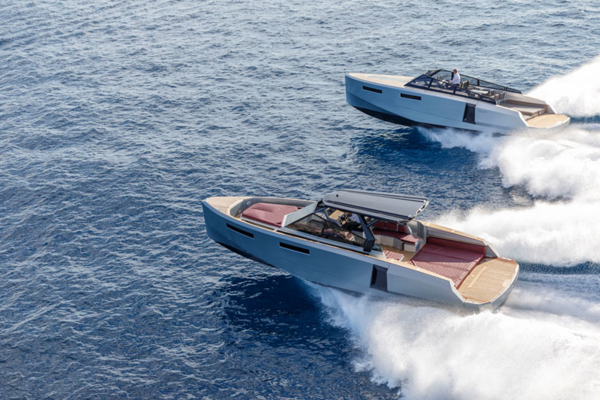 The 43' HT (foreground) from Evo Yachts can hit a top speed of more than 43 mph.