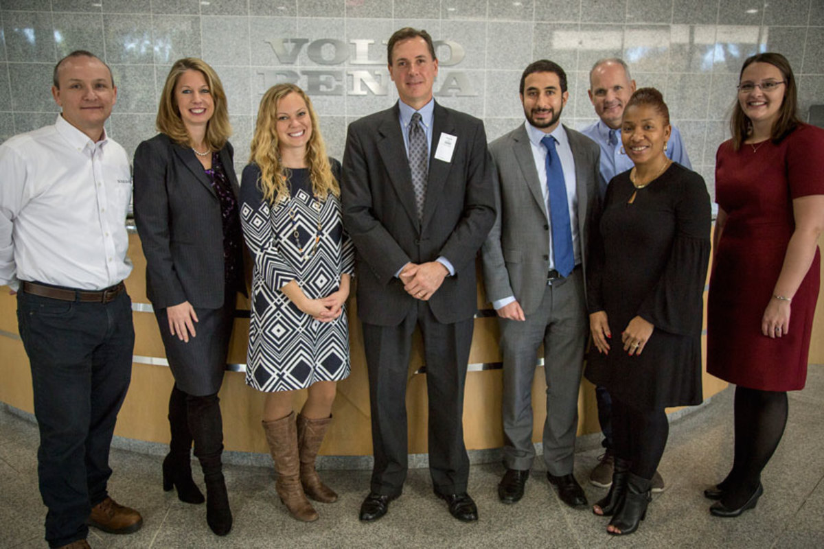 Virginia Delegate Jay Leftwich (fourth from left) visited Volvo Penta's Virginia office. Others shown are Mel Cahoon (left) of Volvo Penta; Kelly Bobek of Volvo Group; Christine Carlson of Volvo Penta; John Miceli of Volvo Group; Jens Bering of Volvo Penta; Valerie Harriell of Volvo Penta; and Libby Yranski of the National Marine Manufacturers Association.