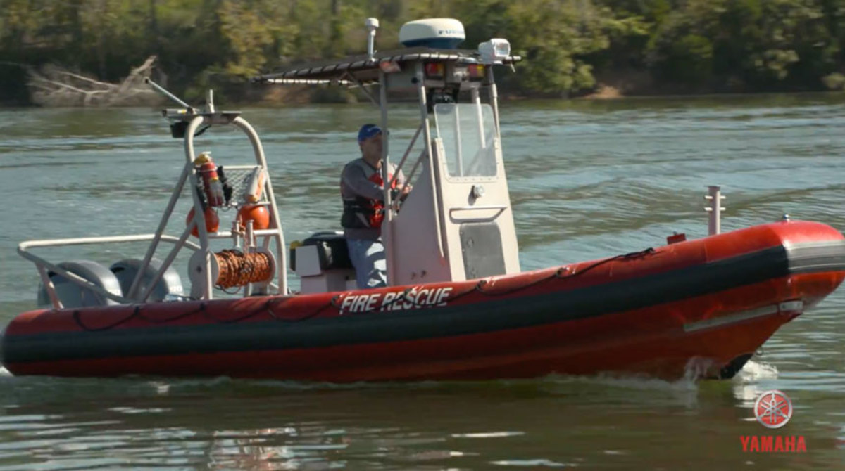 Yamaha provided two F90 outboards to the fire department in Stevenson, Ala. Photo taken as a screen grab from video provided by Yamaha.