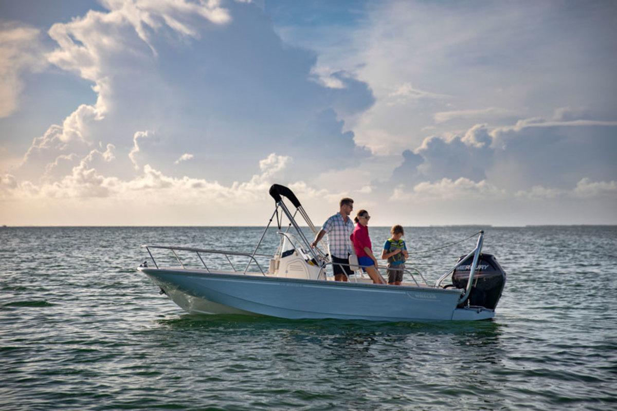 The 17-foot Boston Whaler Montauk, shown here in the water, turned heads at Whaler's 2017 Yacht Expo in Florida. The boat was displayed on a trailer near the biggest yachts the Brunswick Boat Group makes.