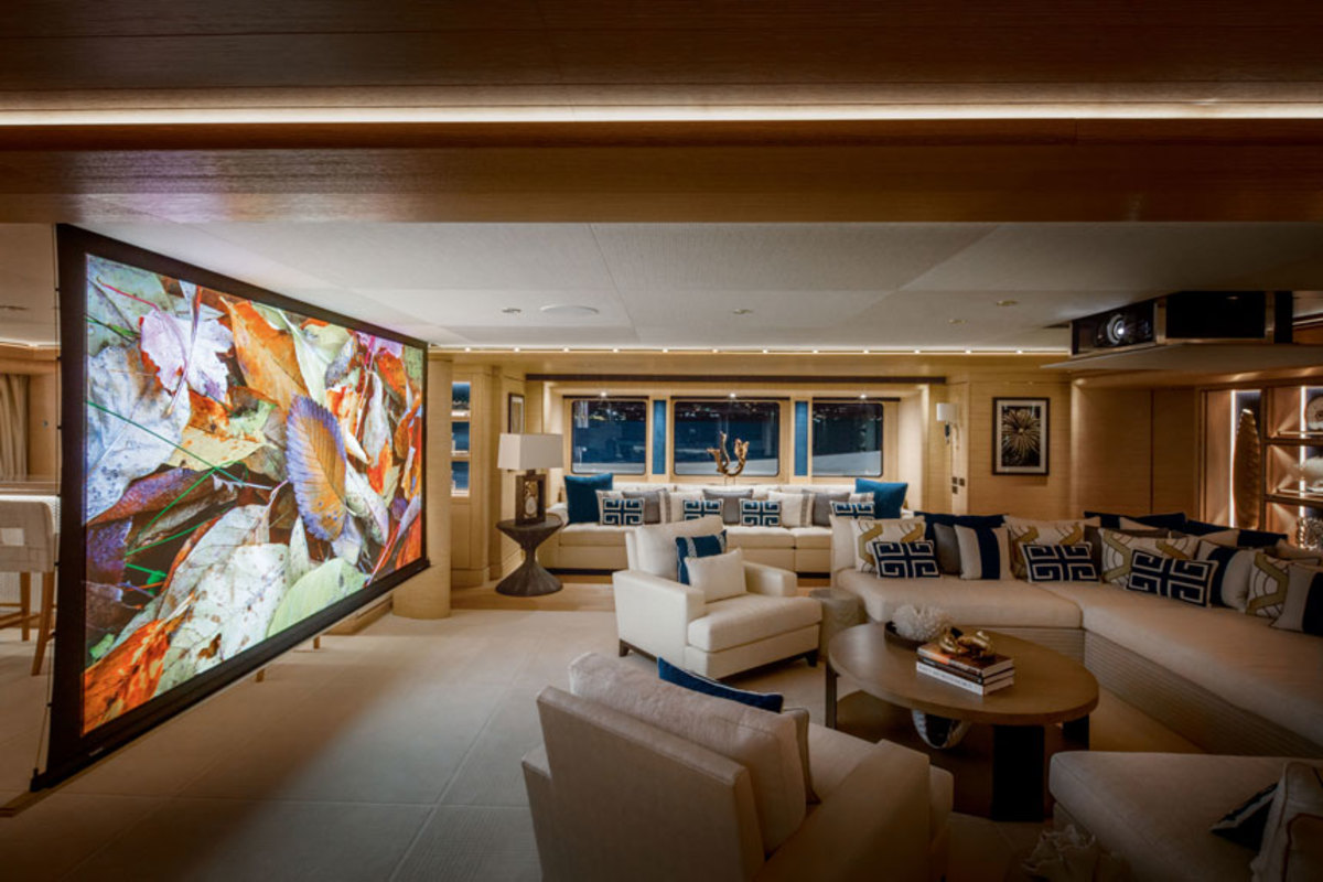 The Videoworks system on this yacht turns it into a private cinema.