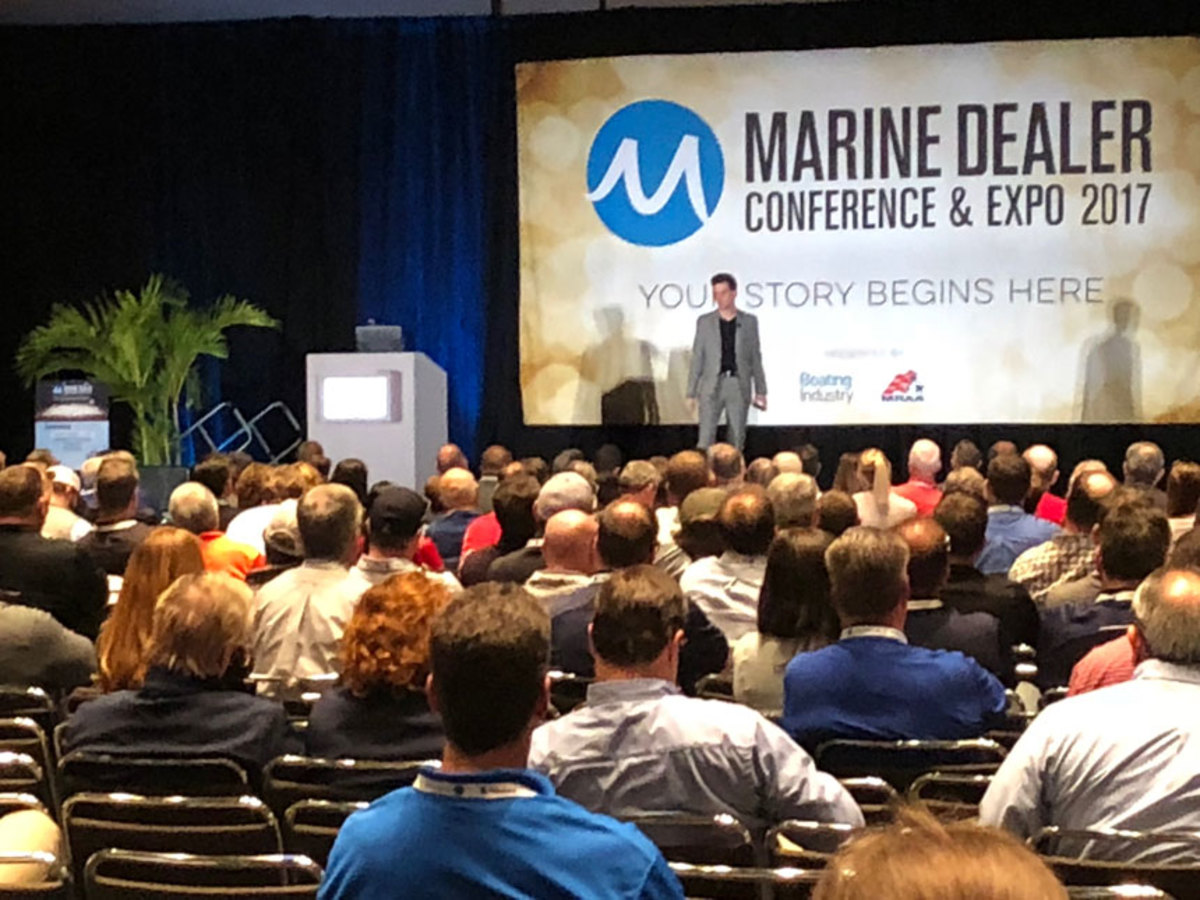 Bestselling author Tim Sanders, who is known as an Internet pioneer, delivers a keynote speech at the Marine Dealer Conference and Expo on Monday.
