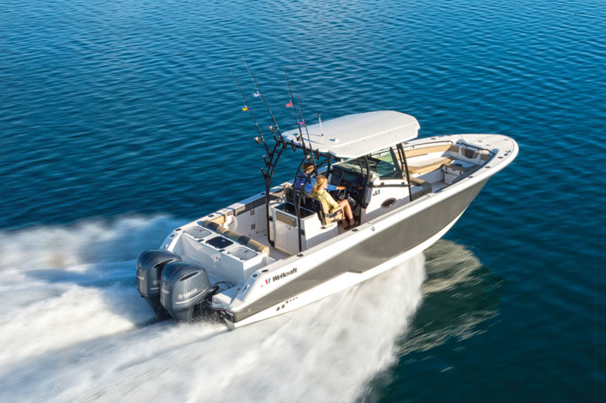 "Armendariz says Groupe Beneteau is ""homing in"" on the saltwater-fishing segment with its Wellcraft brand.The 302 Fisherman is shown."