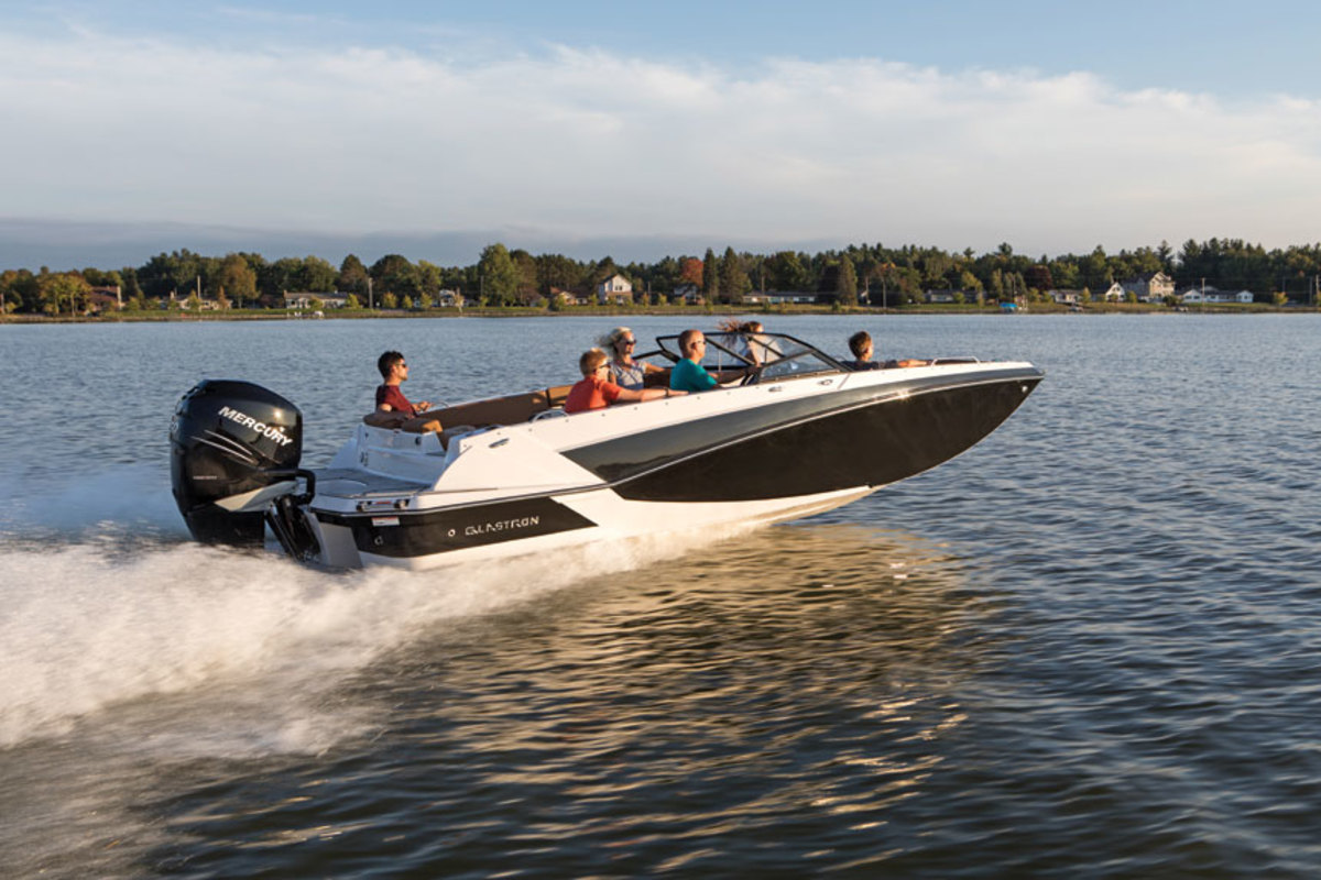 Armendariz says the Glastron brand is  transitioning to a configuration that is more like a deck boat. The GTD 220 is shown.