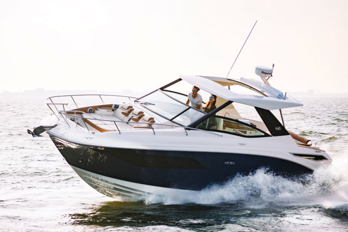 The market for cruisers, such as the 320 Sundancer, is not as strong as it once was. The boat debuted at the Miami International Boat Show in 2017.