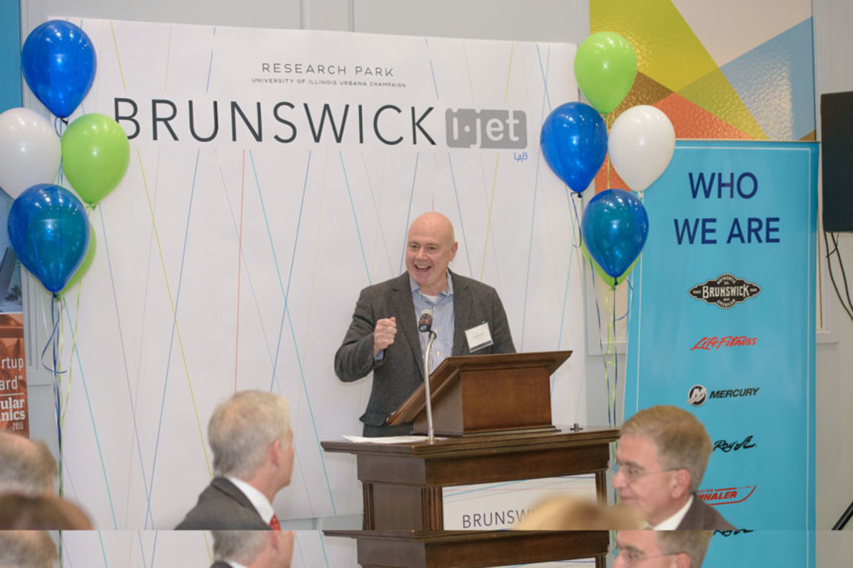 David Foulkes, chief technology officer at Brunswick Corp., speaks at the grand opening of the Brunswick I-JET Lab.