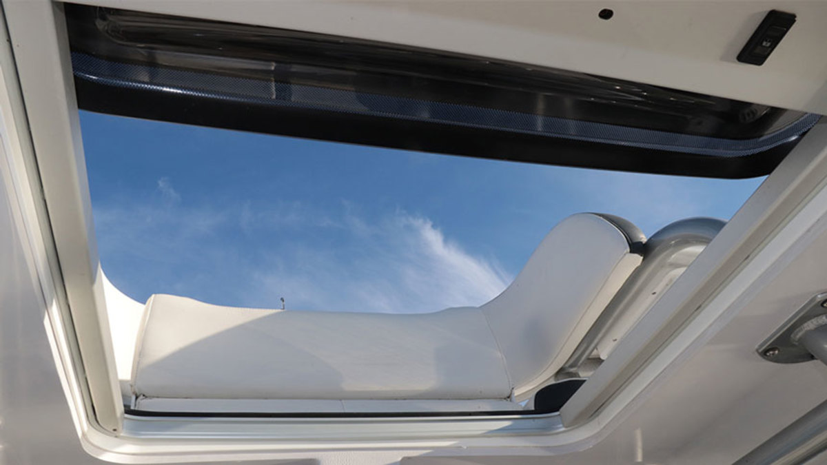 McRae says the electric sliding hatch lets in a lot of light and is completely watertight.
