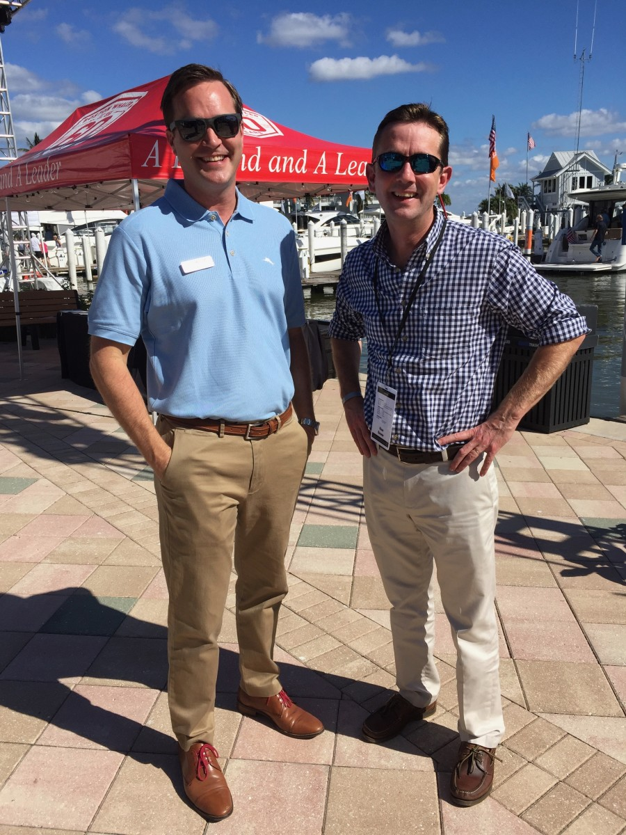 Bower (right) and Sea Ray president Brad Anderson are shown on the docks at the Sea Ray and Boston Whaler Yacht Expo earlier this month.