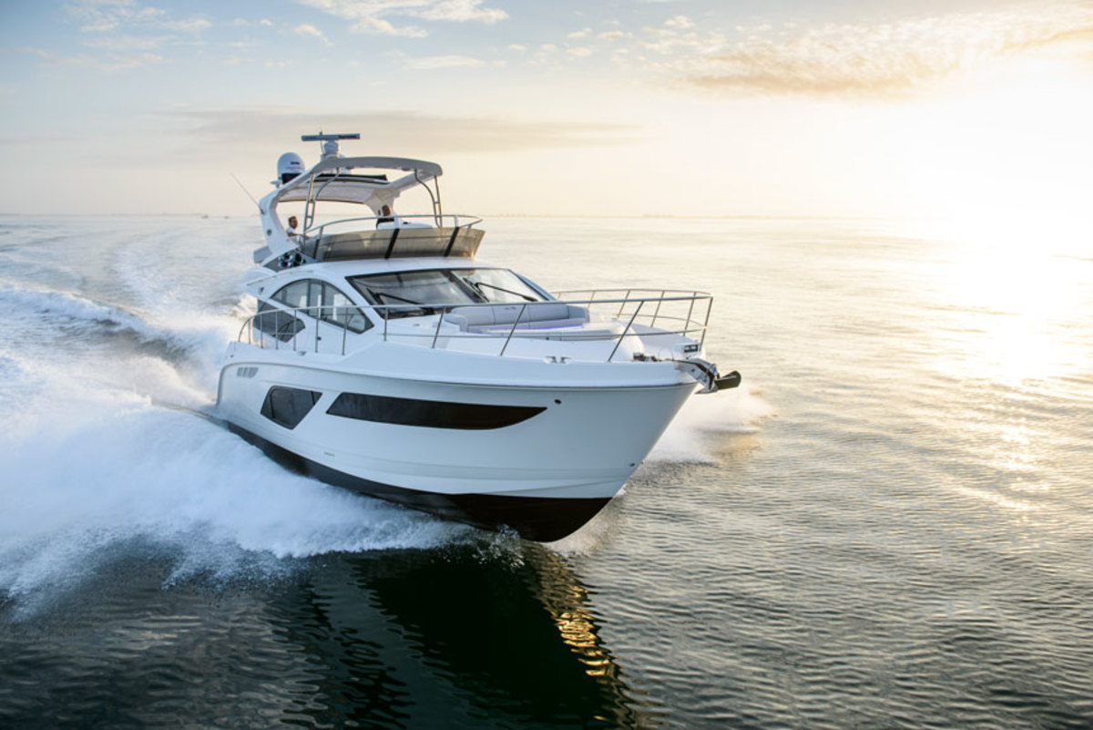 Brunswick said sluggish sales of larger boats, such as this L550 Fly, did not influence its decision to put Sea Ray up for sale.