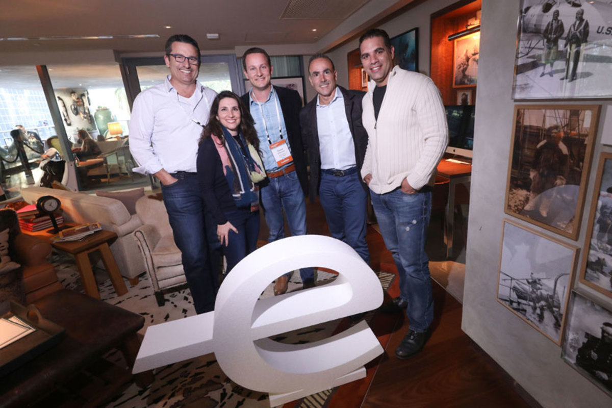 Boatsetter co-founders Andrew Sturner (left) and Jaclyn Baumgarten were selected as Endeavor Entrepreneurs, along with the co-founders of two other companies, Entic and Mediconecta. Also shown are Daniel Silberman (third from left) of Mediconecta, and Manuel Rosendo and Carlos Diaz of Entic.