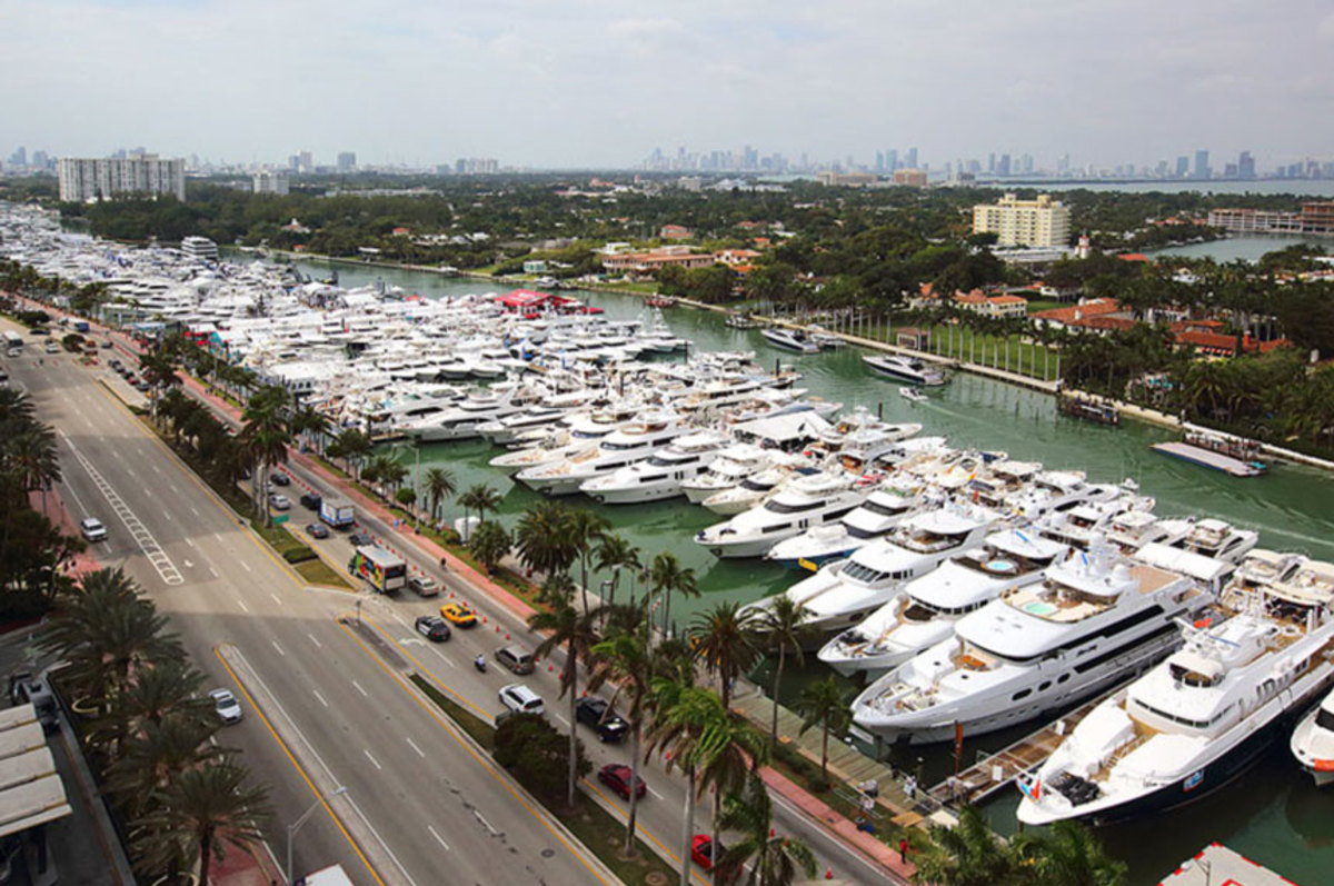 The renamed Miami Yacht Show on Collins Avenue, now in its 30th year, attracts a global audience to a display of more than 500 new and brokerage yachts. This photo was taken in 2017.