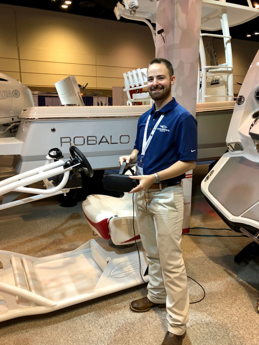 Ryan Swaims showed off the virtual-reality system he created for Chaparral and Robalo at the Marine Dealer Conference and Expo last month.