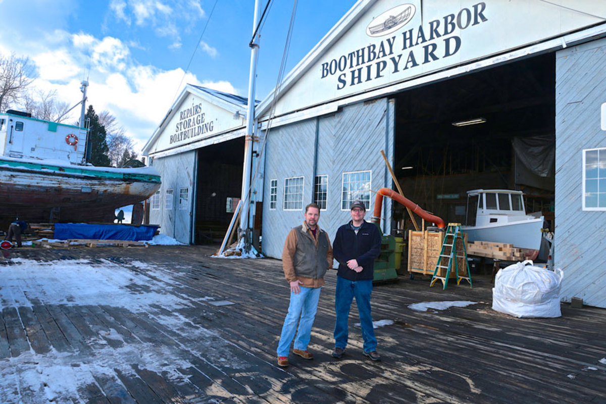 Andy Tyska (left), president of Bristol Marine, and vice president Eric Graves are shown at the Rhode Island shipyard.