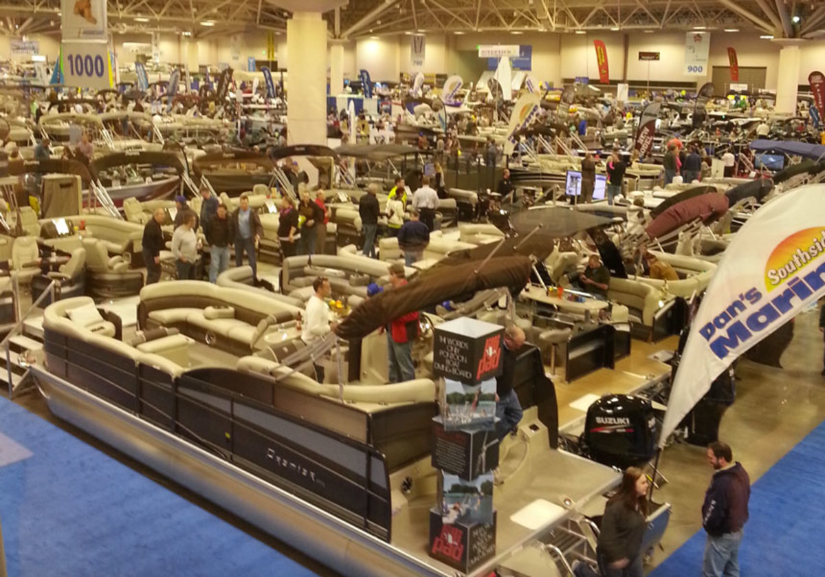 Pontoon boats (shown here) are one of the categories in the inaugural Minneapolis Innovation Awards during the Minneapolis Boat Show, which is being held at the Minneapolis Convention Center.